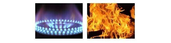 Flame gas methane and flame combustion wood