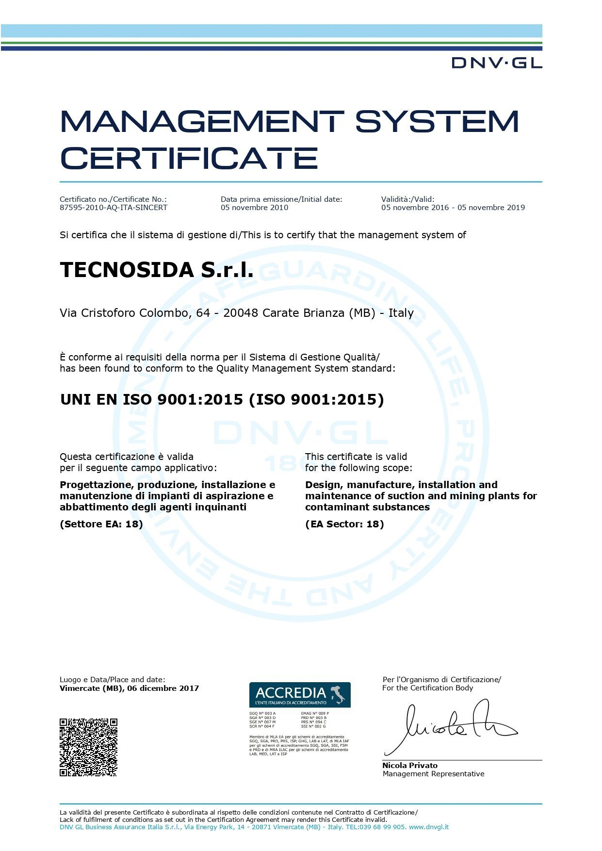 UNI EN ISO 9001:2015 certification