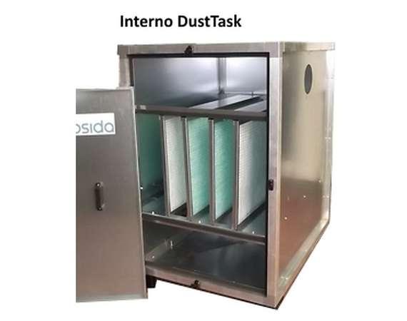 Panel dedusting filter internal elements
