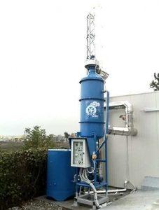 Wet filter for wood boiler emissions