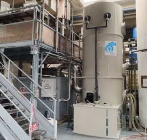 Scrubber for the abatement of fumes from detergent production