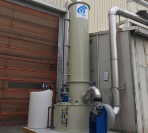 Scrubber for caustic soda abatement