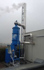 wet scrubber for wood combustion fumes